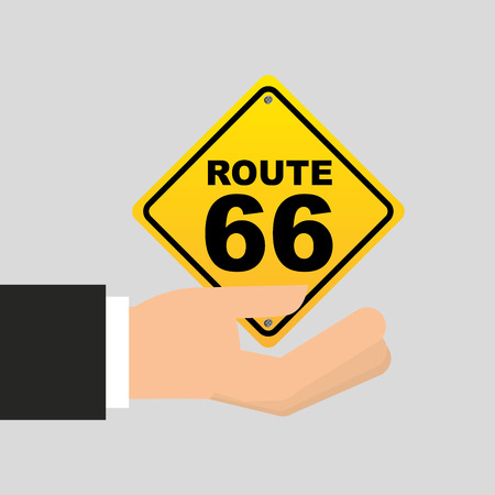 route 66: road sign route 66 icon vector illustration Illustration