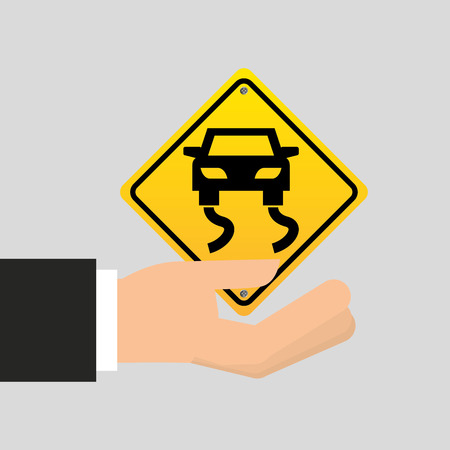 skid: road sign slippery car icon vector illustration Illustration