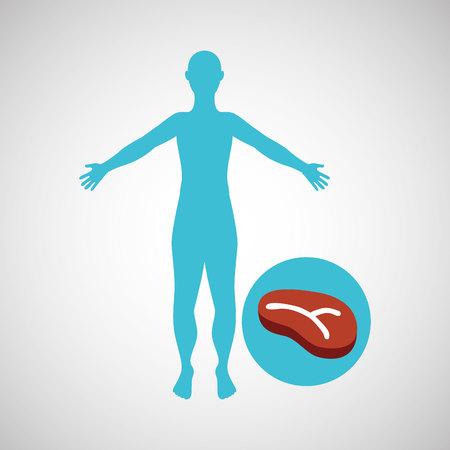 silhouette man meat food design vector illustration Illustration