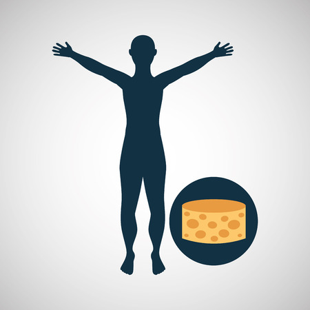 silhouette man cheese food design vector illustration
