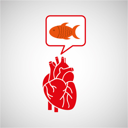 concept healthy heart fish fresh icon vector
