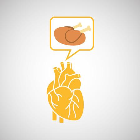 food healthy heart chicken concept design icon vector