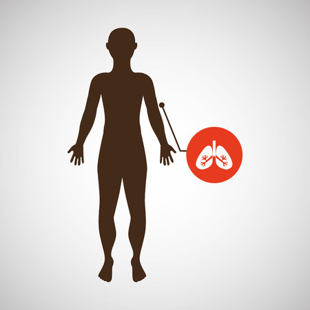 hand on chin: silhouette man with lungs organ body icon vector Illustration