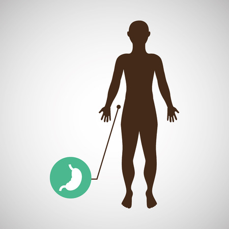 silhouette man with stomach body icon vector Illustration
