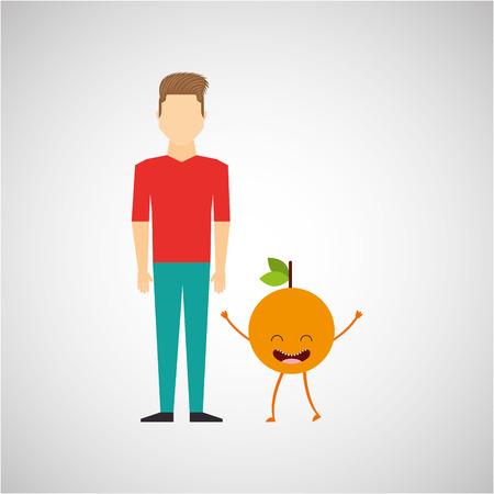 man with cartoon orange fruit vector illustration