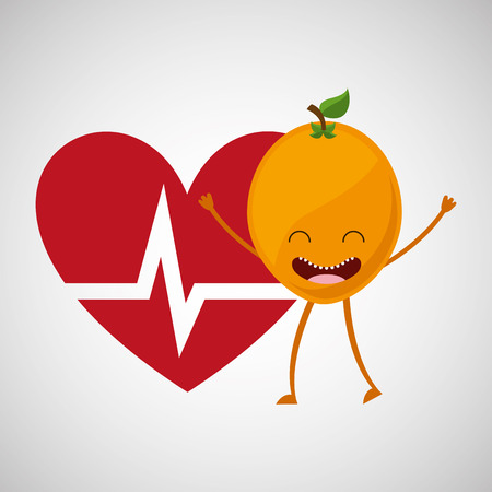 fruit cartoon heart healthy icon vector illustration