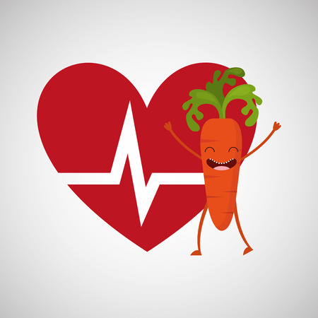 calisthenics: cartoon heart rate carrot vector illustration