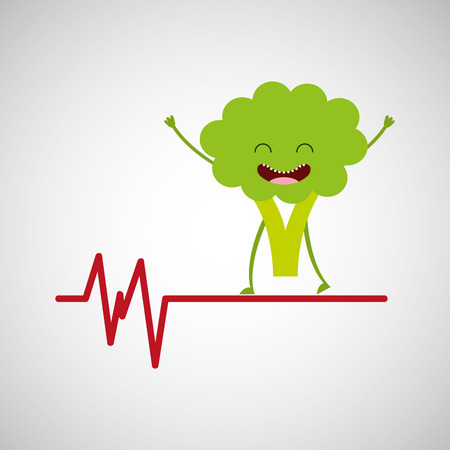 healthy broccoli cute, heartrate icon background vector illustration eps 10