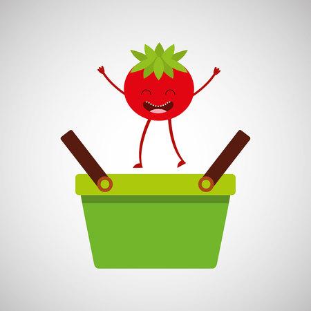 grocer: green basket market and fresh tomato vector illustration Illustration