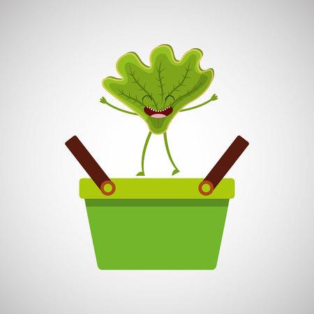 kale: green basket market and happy lettuce Illustration