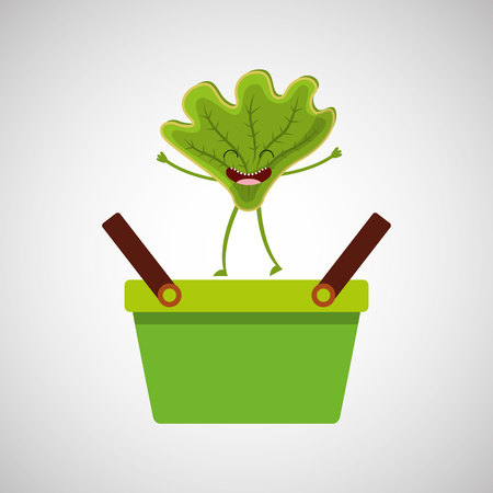 green basket market and happy lettuce Illustration