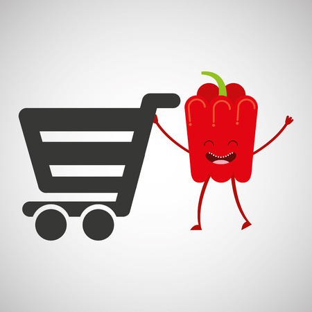 mercado concepto comprar pimienta fresca linda Vectores