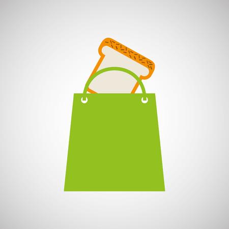 rolling bag: bag shopping food icon sliced bread vector illustration