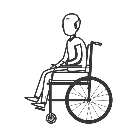 disable: old man disable isolated icon vector illustration design Illustration
