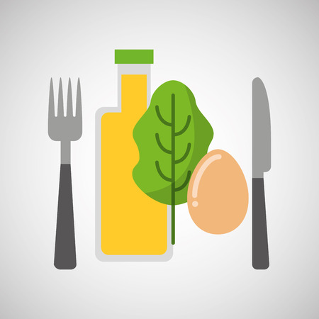food fresh egg lettuce juice vector illustration