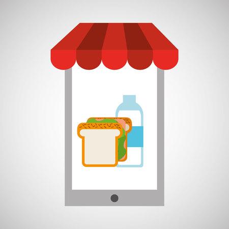 unshaven: shopping online sandwich vector illustration Illustration