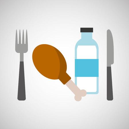 thigh: fresh eating chicken thigh bottle water vector