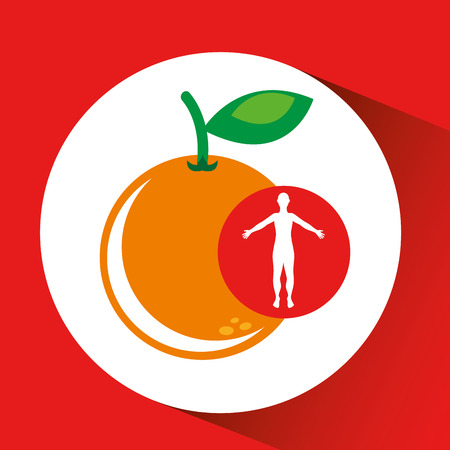 halved: silhouette orange fruit design vector illustration
