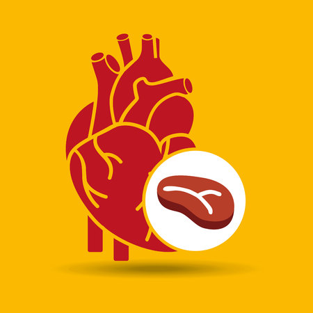 concept healthy heart meat eating icon vector illustration