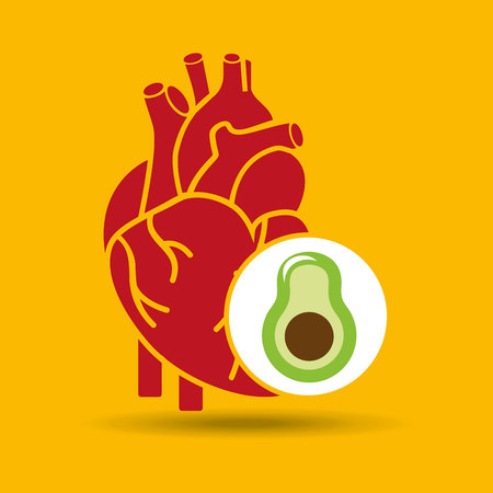 food healthy heart green avocado concept design icon vector illustration Illustration