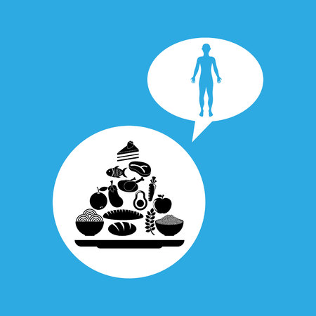 silhouette man with food pyramid icon vector illustration