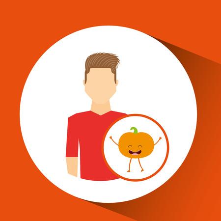 hombre con dibujos de frutas ilustración vectorial de melocotón