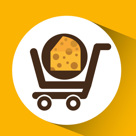cart buy delicious cheese food vector illustration