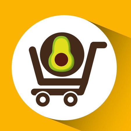 cart buy avocado food vector illustration Illustration