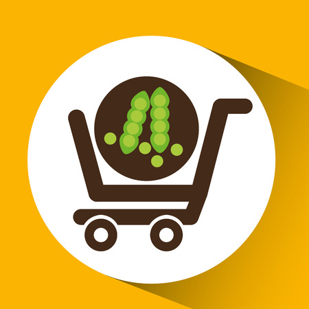 cart buy vegetable pea icon vector illustration Illustration