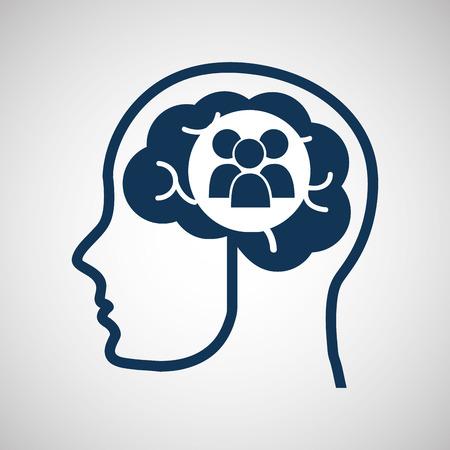 vdo: social media concept, head and brain media group vector illustration