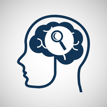 video call: social media concept, head and brain media search vector illustration