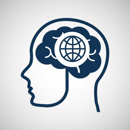 concept network, silhouette head with globe media icon vector illustration