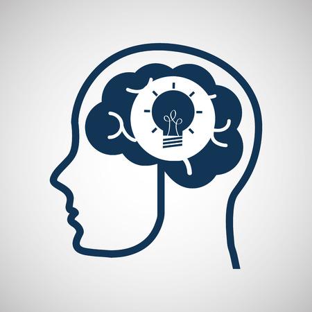 vdo: social media concept, head and brain media creativity vector illustration