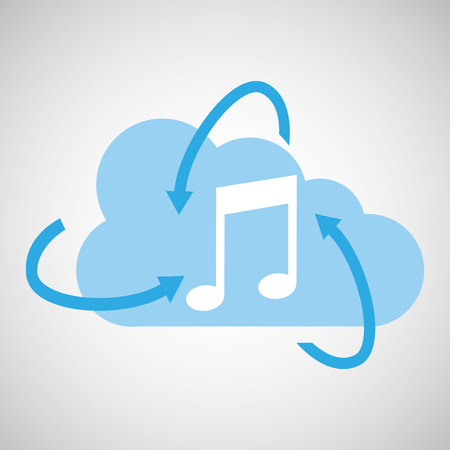 cloud technology media music note icon vector illustration