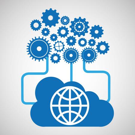 cloud network globe earth connection design vector illustration Illustration