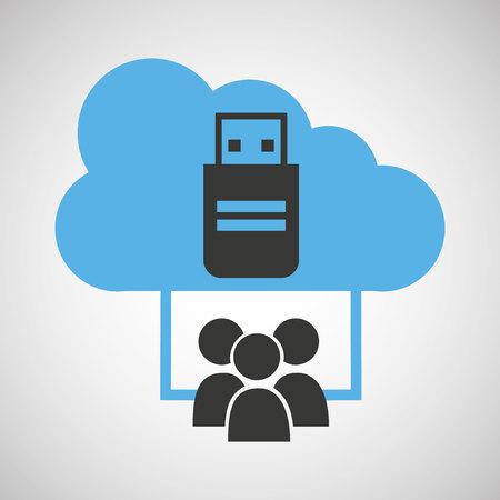 storage compartment: cloud computing service usb backup vector illustration