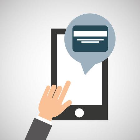 sms payment: network smartphone payment credit card digital vector illustration Illustration