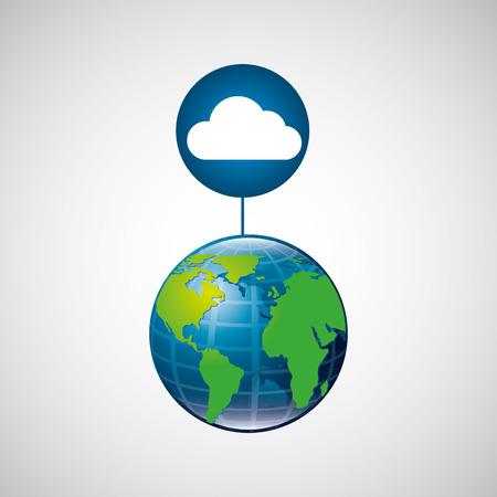 saas: globe world cloud connection service vector