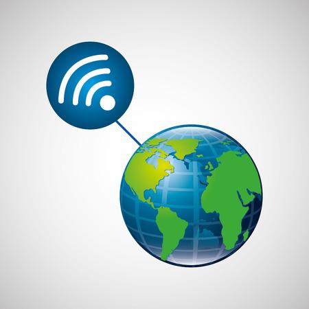 globe world internet connection service vector