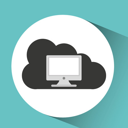 pc monitor: technology monitor pc cloud graphic vector illustration
