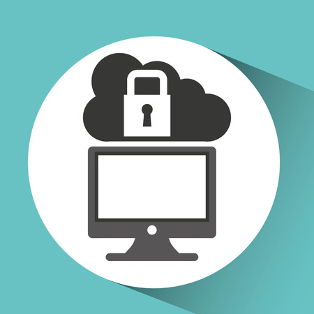 security monitor: technology monitor pc cloud security graphic vector Illustration