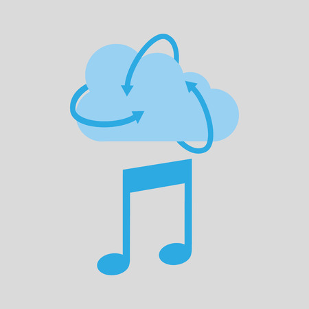 disk jockey: cloud technology media music note icon vector illustration