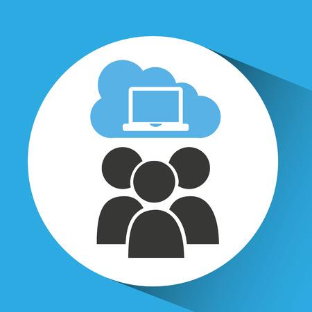 remote server: cloud computing service laptop group vector illustration