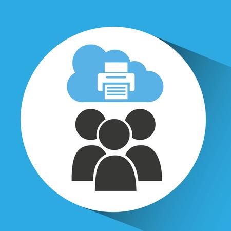 disco duro: Ilustración de vector de dispositivo de impresora de servicio de informática en la nube