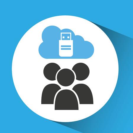 data synchronization: cloud computing service usb backup vector illustration