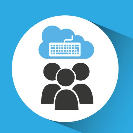 cloud connection social media keyboard vector illustration