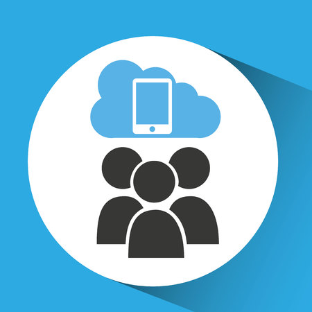 cloud connection social media smartphone vector illustration