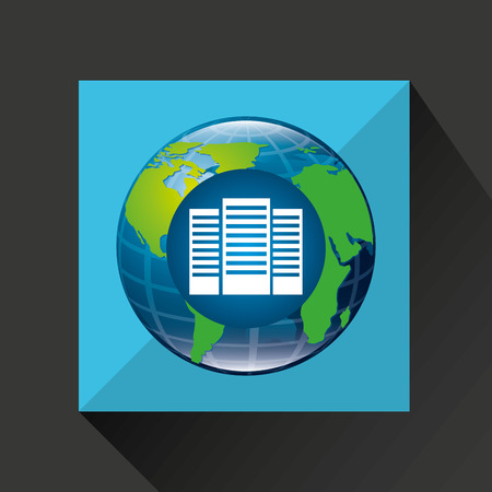 computerized: earth global data center connected media vector illustration