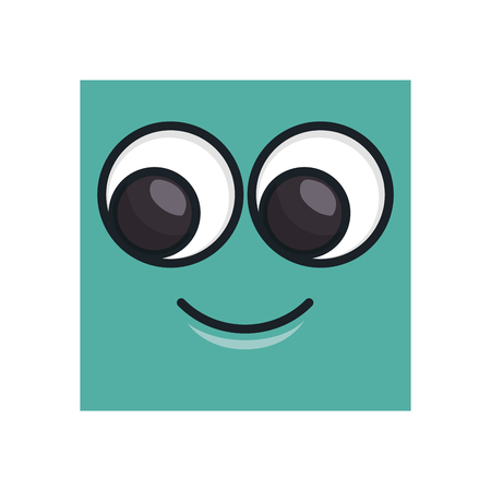 shapes cartoon: face square emoticon