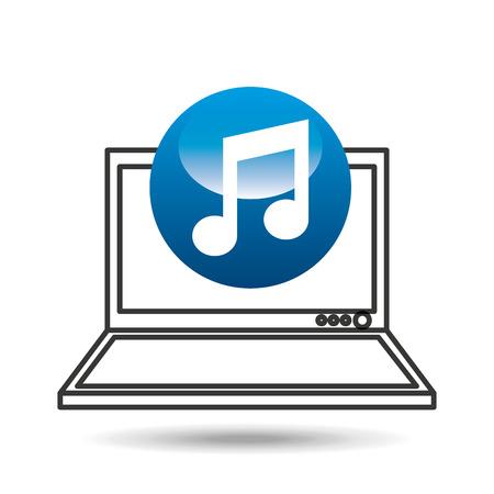 laptop display concept noe music media design vector illustration eps 10